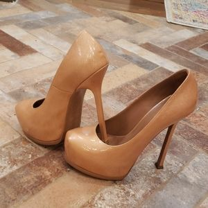 """YSL Tribute tan/nude 37 platform heels, 5 1/2"""" hee"""